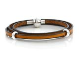 Zable™ 22 inches Sterling Silver Tan Leather Wrap Bracelet with Magnetic Clasp and Smart Pandora Compatible Bead / Charm