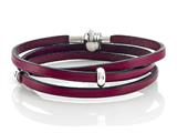 Zable™ 22 inches Sterling Silver Pink Leather Wrap Bracelet with Magnetic Clasp and Smart Bead / Charm style: BZB144