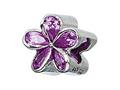 Zable™ Sterling Silver Purple Plumeria With CZ Pandora Compatible Bead / Charm