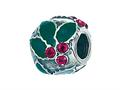 Zable™ Sterling Silver Holly With Crystal Berries Pandora Compatible Bead / Charm
