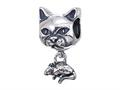 Zable™ Sterling Silver Cat With Mouse Bead / Charm