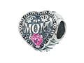 Zable™ Sterling Silver Mom With Crystals Pandora Compatible Bead / Charm
