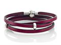 Zable 22 inches Sterling Silver Pink Leather Wrap Bracelet with Magnetic Clasp and Smart Bead / Charm