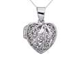 Sterling Silver Rhodium Heart Filigree Locket Pendant Chain Included
