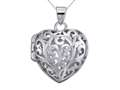 Sterling Silver Rhodium Heart Filigree Locket Pendant Chain Included