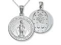 925 Sterling Silver Rhodium Large Micaculous Medal Pendant - Free Chain Included