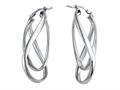 Stellar White™ Rhodium Twist Hoop Earrings
