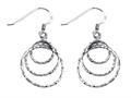 Stellar White™ Rhodium Diamond Cut Circles Shepherd Hook Earrings