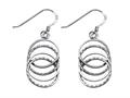 Stellar White™ Rhodium Alt 4 Circles Shepherd Hook Earrings
