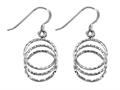 Stellar White™ Rhodium 3 Circle Diamond Cut Shepherd Hook Earrings