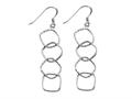 Stellar White™ Rhodium 4 Alt Squares Shepherd Hook Earrings