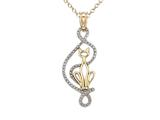 14kt Two Tone Gold Cat Outline Pendant - Free Chain Included