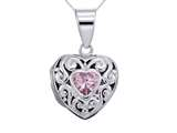 Sterling Silver Rhodium Heart Locket Pendant With Pink Heart Shape CZ Chain Included style: CG3269