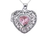 Sterling Silver Rhodium Heart Locket Pendant Necklace With Pink Heart Shape CZ Chain Included style: CG3273