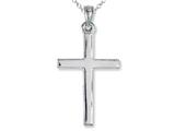 925 Sterling Silver Rhodium Medium Plain Pol Cross Pendant - Free Chain Included