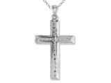 925 Sterling Silver Rhodium Large Diamond Cut Center Cross Pendant - Free Chain Included