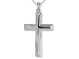 925 Sterling Silver Rhodium Large Stepped Cross Pendant - 16/18 Adjustable Chain Included