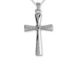 925 Sterling Silver Rhodium Tapered Cross Pendant - Free Chain Included