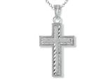 925 Sterling Silver Rhodium Small Diamond Cut Cross Pendant - Free Chain Included