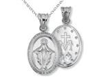 925 Sterling Silver Oval Miraculous Medal Pendant Necklace Chain Included style: CG71029