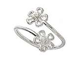 Sterling Silver Rhodium Finish Toe Ring Bypass Flowers style: CGSS303