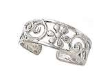 Sterling Silver Rhodium Finish Toe Ring Flower Swirls style: CGSS305
