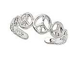 Sterling Silver Rhodium Finish Toe Ring Peace Signs style: CGSS309