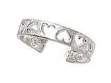 Sterling Silver Rhodium Finish Toe Ring Cutout Hearts style: CGSS312