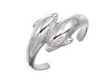 Sterling Silver Rhodium Finish Double Dolphin Toe Ring style: CGSS356