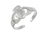 Sterling Silver Rhodium Finish Claddagh Toe Ring style: CGSS357