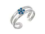 Sterling Silver Rhodium Finish Blue Crys Flower Toe Ring style: CGSS359