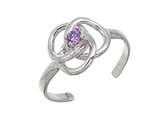 Sterling Silver Rhodium Finish Intrlckng Rng Crys Toe Ring style: CGSS360