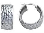 Stellar White Rhodium Bright Cut Small Hoop Earings Style number: SE1068