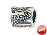 "Zable™ Sterling Silver Triangular ""Mom"" Bead / Charm"
