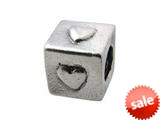 Zable™ Sterling Silver Block with Hearts Bead / Charm