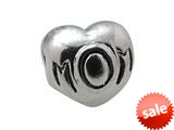 "Zable™ Sterling Silver Mom"" Heart Bead / Charm style: BZ0327"