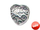 "Zable™ Sterling Silver Love"" Heart Bead / Charm style: BZ0361"
