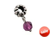 Zable™ Sterling Silver February Crystal Dangle Bead / Charm