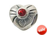 Zable™ Sterling Silver July Birthstone Heart Bead / Charm style: BZ0443