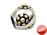 Zable™ Sterling Silver Gold Daisies Barrel Bead / Charm style: BZ0640