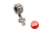 Zable™ Sterling Silver Dangle Cross with Cubic Bead / Charm