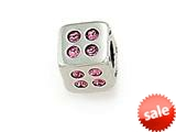 Zable™ Sterling Silver Cube with Pink Stones Bead / Charm