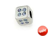 Zable™ Sterling Silver Cube with Blue Stones Bead / Charm