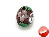 Zable™ Sterling Silver Violet Glass Flower Murano Glass Bead / Charm