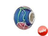 Zable™ Sterling Silver Blue Glass Flower Murano Glass Bead / Charm style: BZ0882