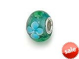 Zable™ Sterling Silver Green/Blue Flower Murano Glass Bead / Charm