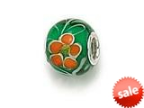 Zable™ Sterling Silver Green/Orange Flower Murano Glass Bead / Charm style: BZ0885