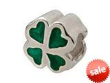 Zable™ Sterling Silver Green Enamel Clover Bead / Charm style: BZ0902