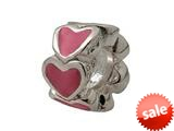 Zable™ Sterling Silver Pink Enamel Hearts Bead / Charm style: BZ0904