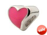 Zable™ Sterling Silver Large Pink Enamel Heart Bead / Charm